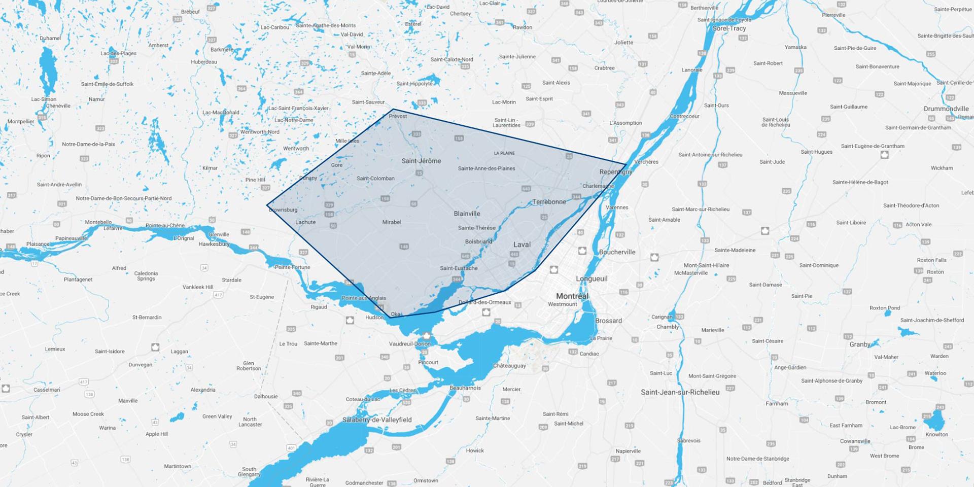 Carte région de livraisons résidentielles